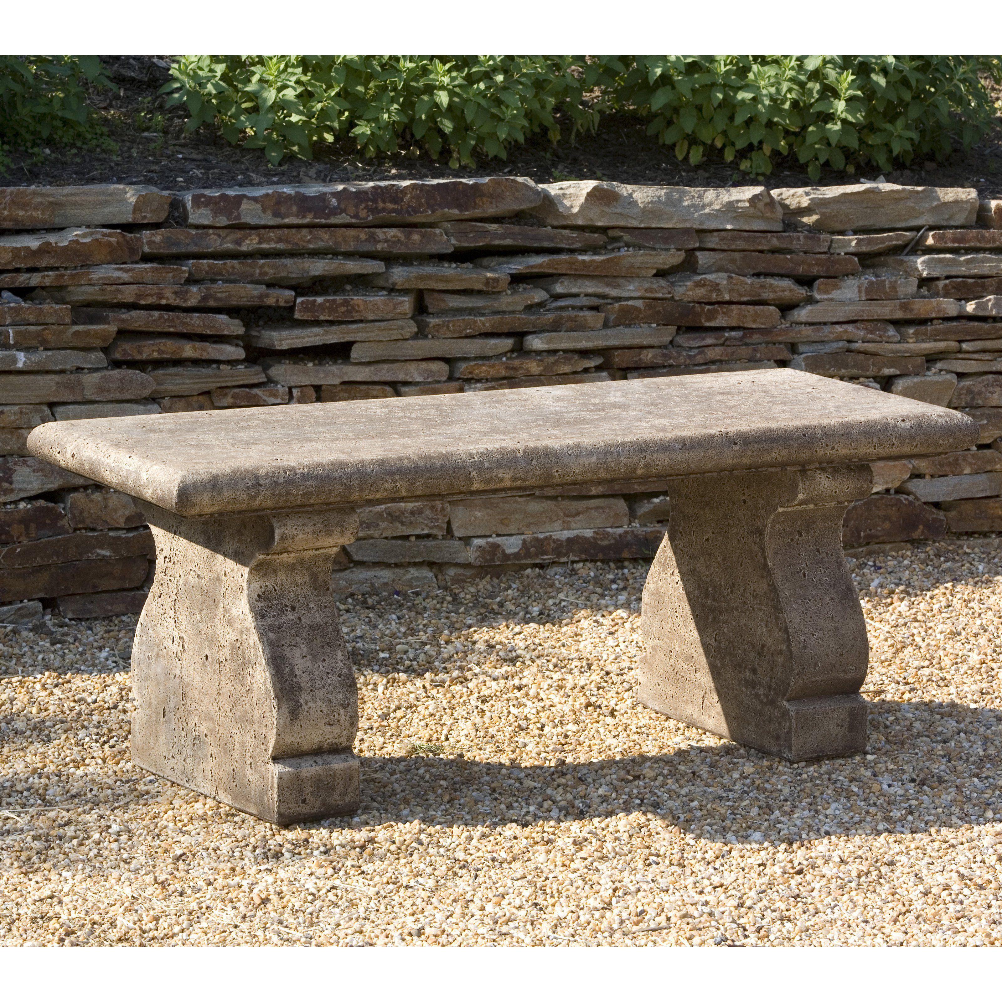 Campania International Provencal Cast Stone Backless Garden Bench