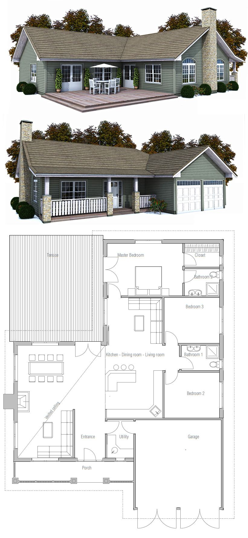 Home Together This Small House Plan Uses Space To Its Advantage Creating A Small Courtyard Out Of What Coul House Layouts House Blueprints Building A House