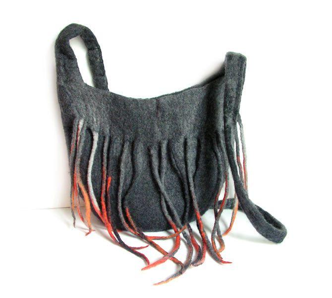 Felted bag felt bag handbag wool grey black orange dreadlocks boho flower spring OOAK #Etsy #Favorite #EtsyFav #Share #EtsyShop Shared by #BaliTribalJewelry http://etsy.me/1sDZ302