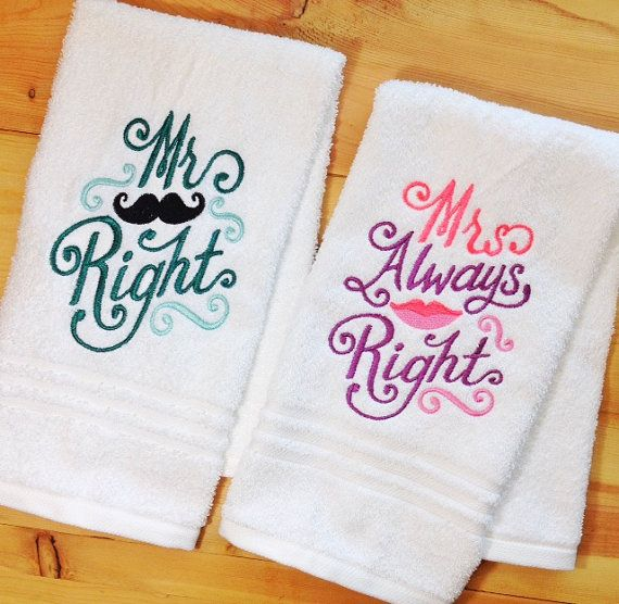 Embroidered Towels For Wedding Gift: His And Hers Towel Set Mr Right & Mrs Always By