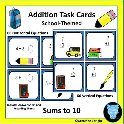 Addition Task Cards - Sums to Ten - School Themed | Recording sheets ...