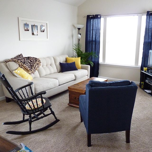 Navy and mustard yellow apartment decor   Home, Apartment ...