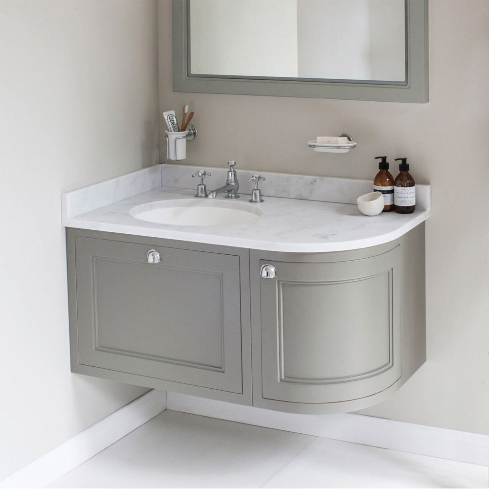 Burlington 100 Left Hand Corner Wall Hung Vanity Unit With Minerva Worktop Basin Burling In 2020 Corner Sink Bathroom Small Bathroom Inspiration Corner Vanity Unit