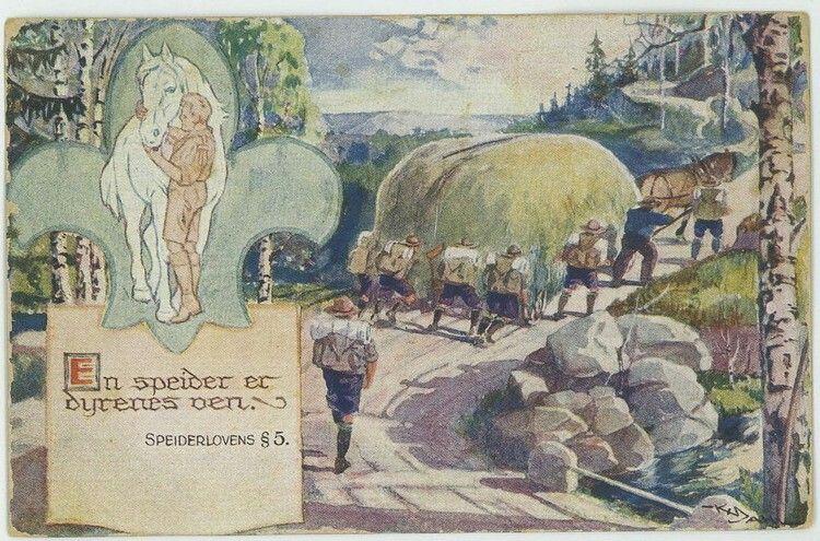 """SPEIDER - Postkort med speidermotiv og tekst """"En speider er dyrenes ven"""". Brukt i 1924. Utg Mittet"""