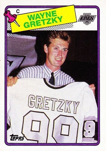 "ard(s) shown: 1988-89 Topps #120 Wayne Gretzky  Purchase price: About $5  This card, featuring a photo from the press conference introducing Gretzky to Los Angeles, was also the very first issued of him in a Kings uniform. Everybody knows the story or has a story about ""The Trade of the Century."" Forgotten is how unpopular The Great One was among local fans before August 1988."