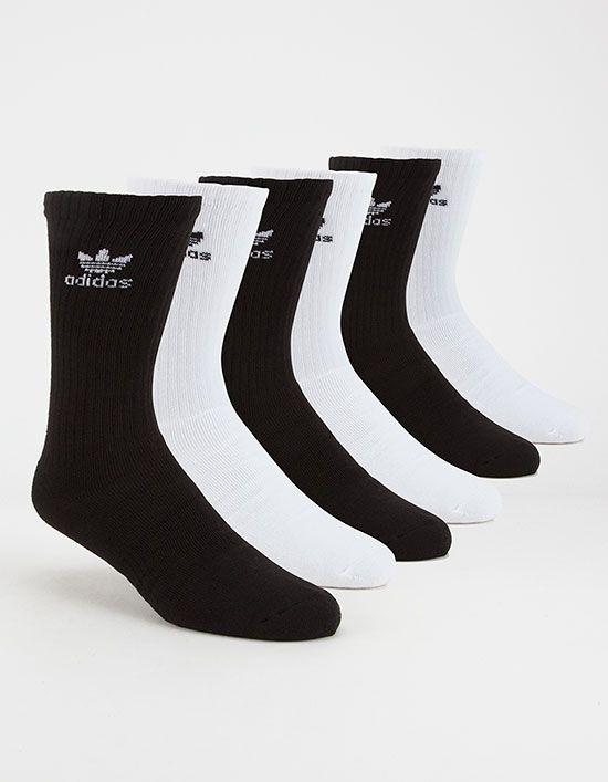Adidas Originals 6 Pack Trefoil Mens Crew Socks Crew Socks Adidas Men Crazy Socks For Men
