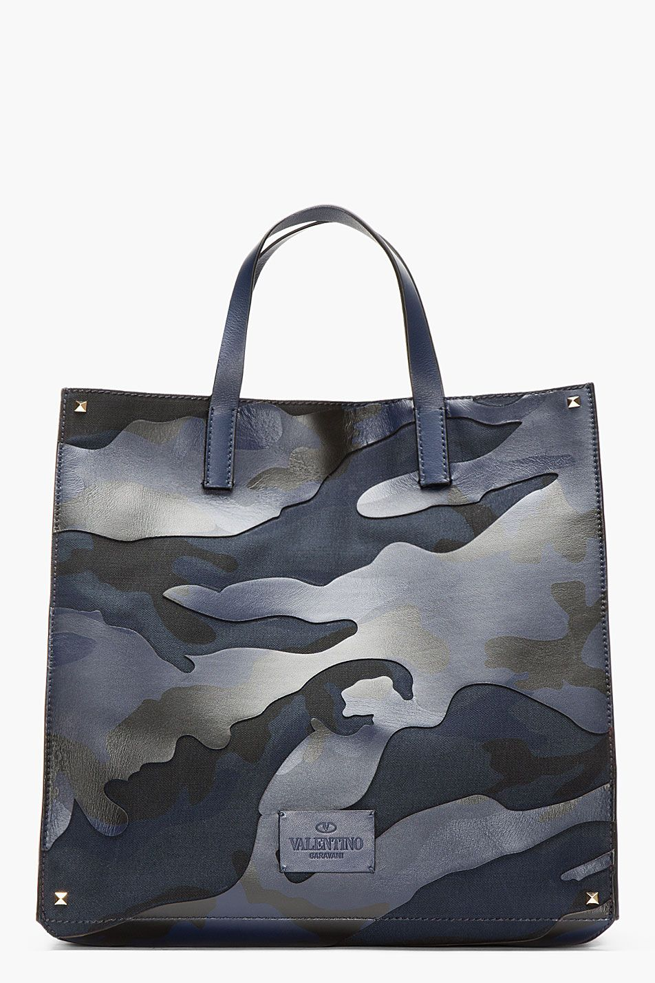 Totemanbags Blueamp; Camouflage Black Paneled Leather Valentino FJ5c3uTlK1