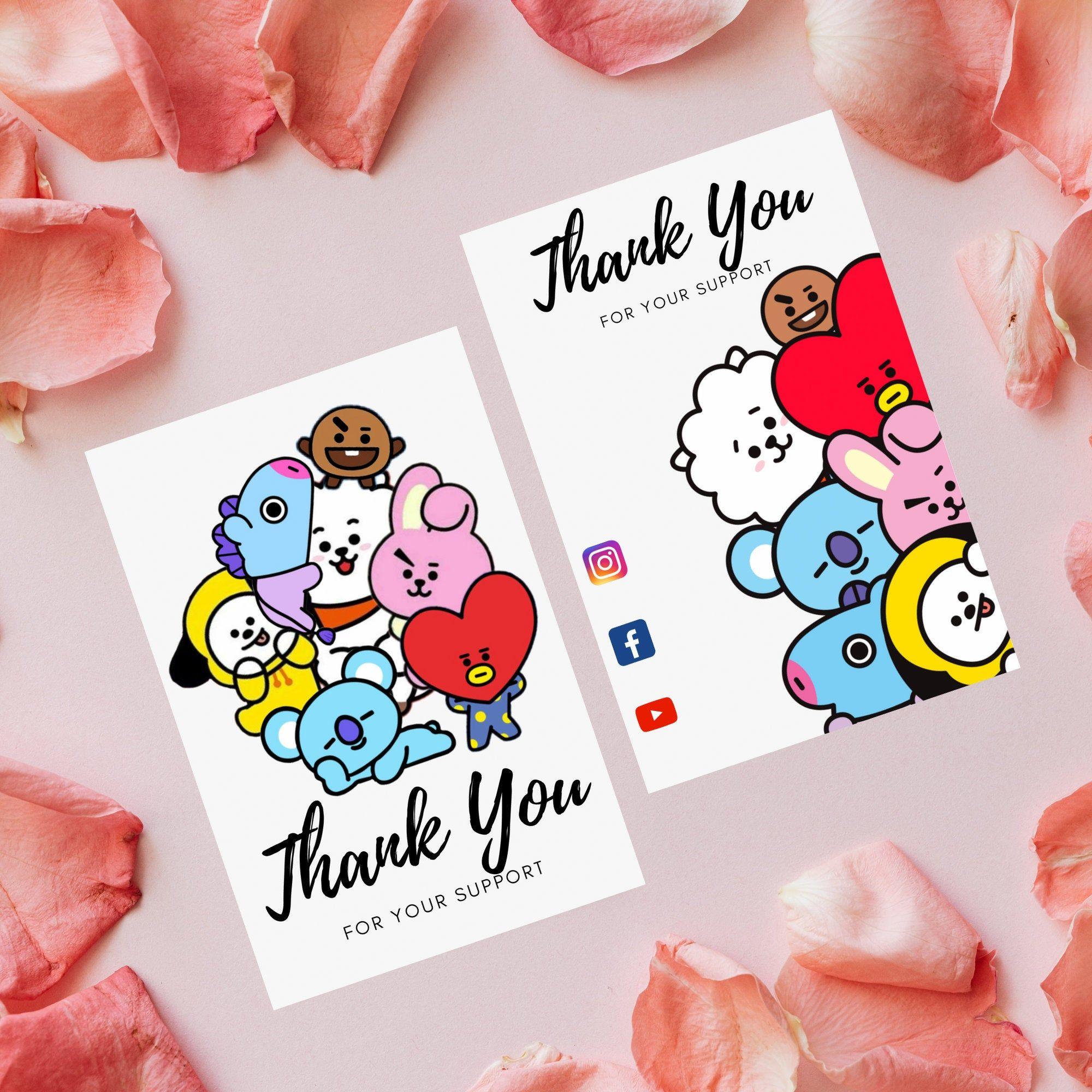 Bt21 Thank You Card Pdf File Instant Digital Download Thank Etsy In 2021 Cute Thank You Cards Thank You Card Design Creative Cards