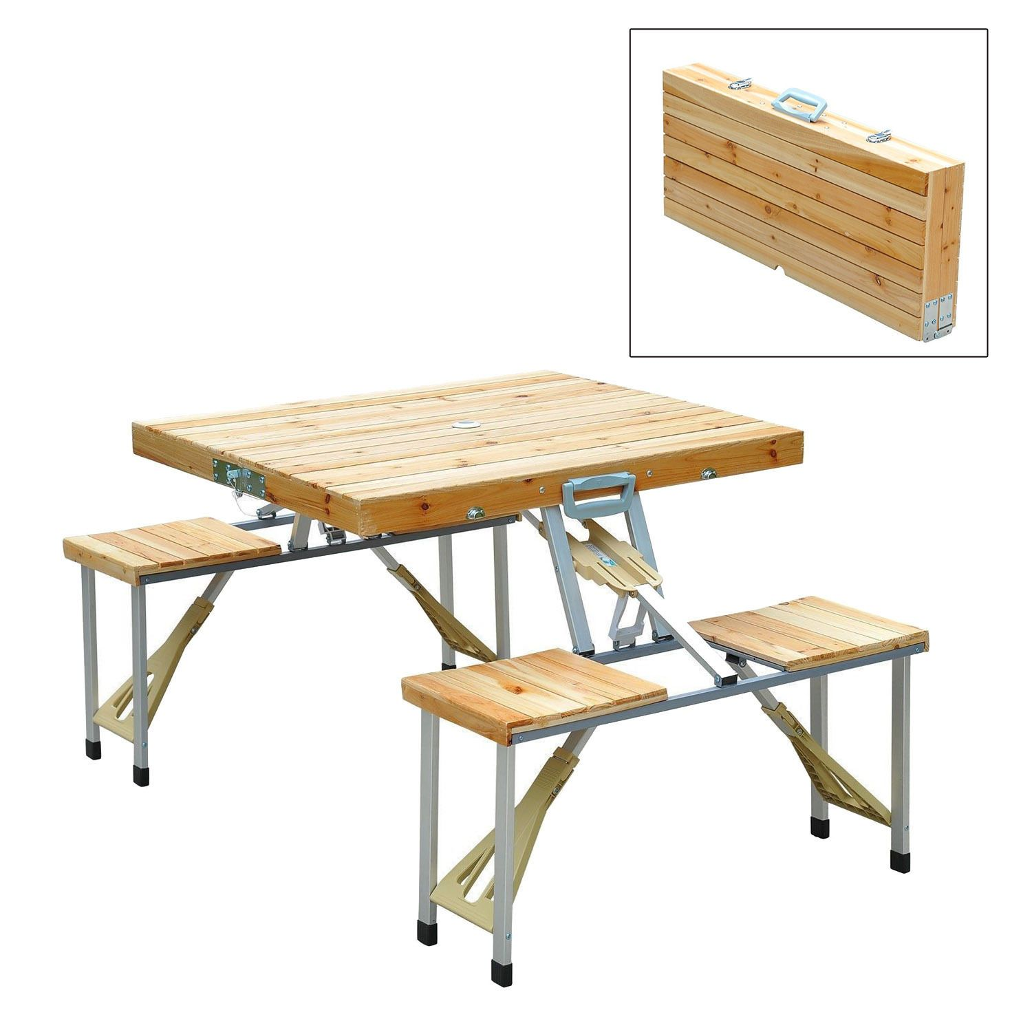 Wooden Camping Picnic Table Bench Seat Outdoor Portable Folding Aluminum 4 Seats Camping Picnic Table Portable Picnic Table Foldable Picnic Table