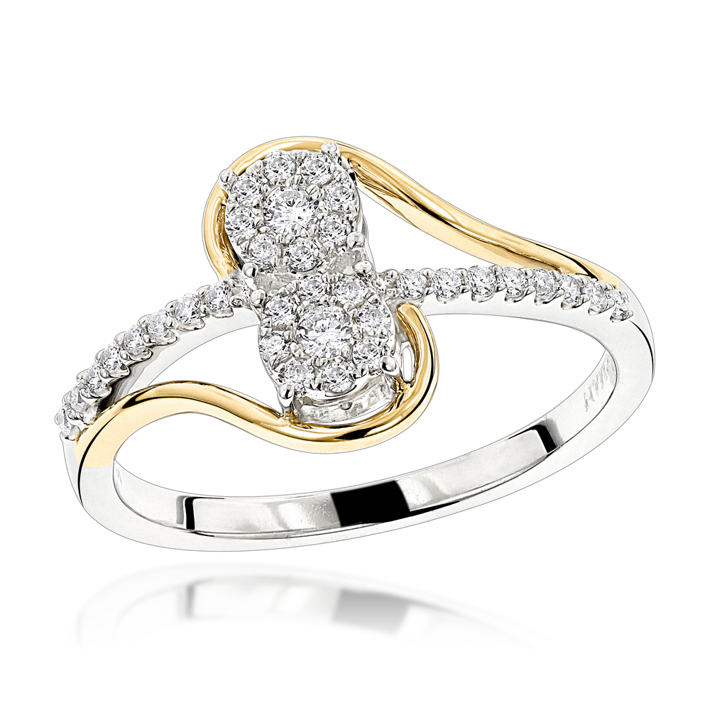 Love & Friendship Rings: 14K Gold 2 Cluster Diamond Ladies Ring 0.25ct Two Tone Image