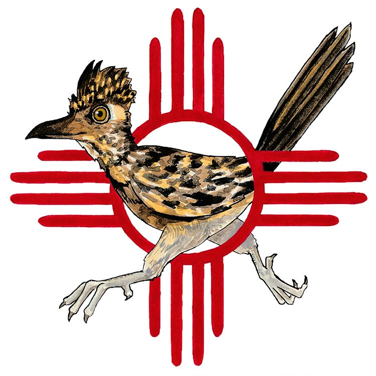 Zia Tattoo Ideas: Roadrunner, Illustration, Watercolor, Ink, New Mexico, Zia