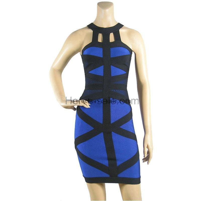 Herve Leger rotondo blu scollo del vestito dalla fasciatura HL561B