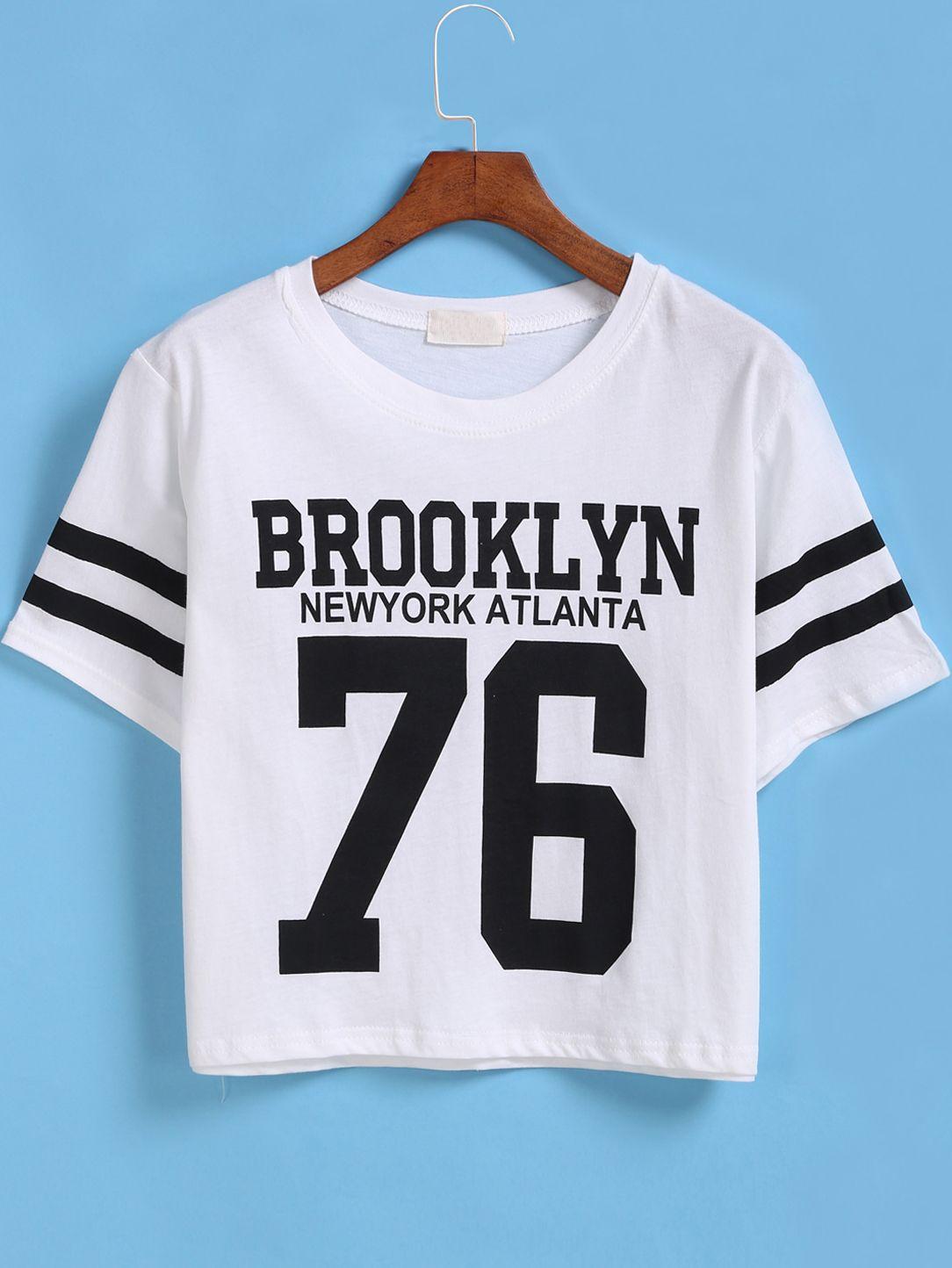 White Short Sleeve BROOKLYN 76 Print Number Comfort Racewear Monogrammed Crop T-Shirt -SheIn(Sheinside)