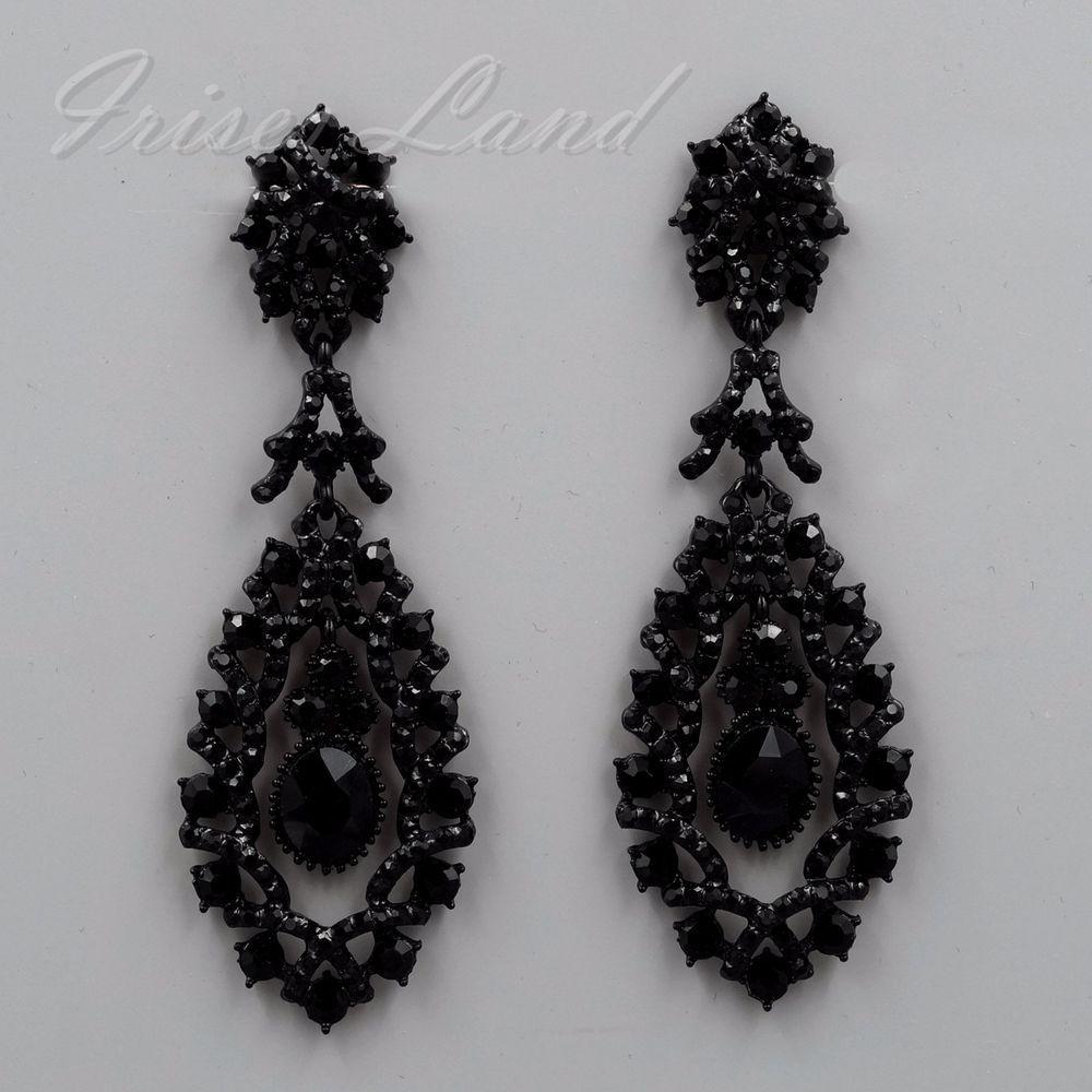 Black Alloy Jet Crystal Rhinestone Chandelier Drop Dangle Earrings 09891 New Irisesland Dropdangle