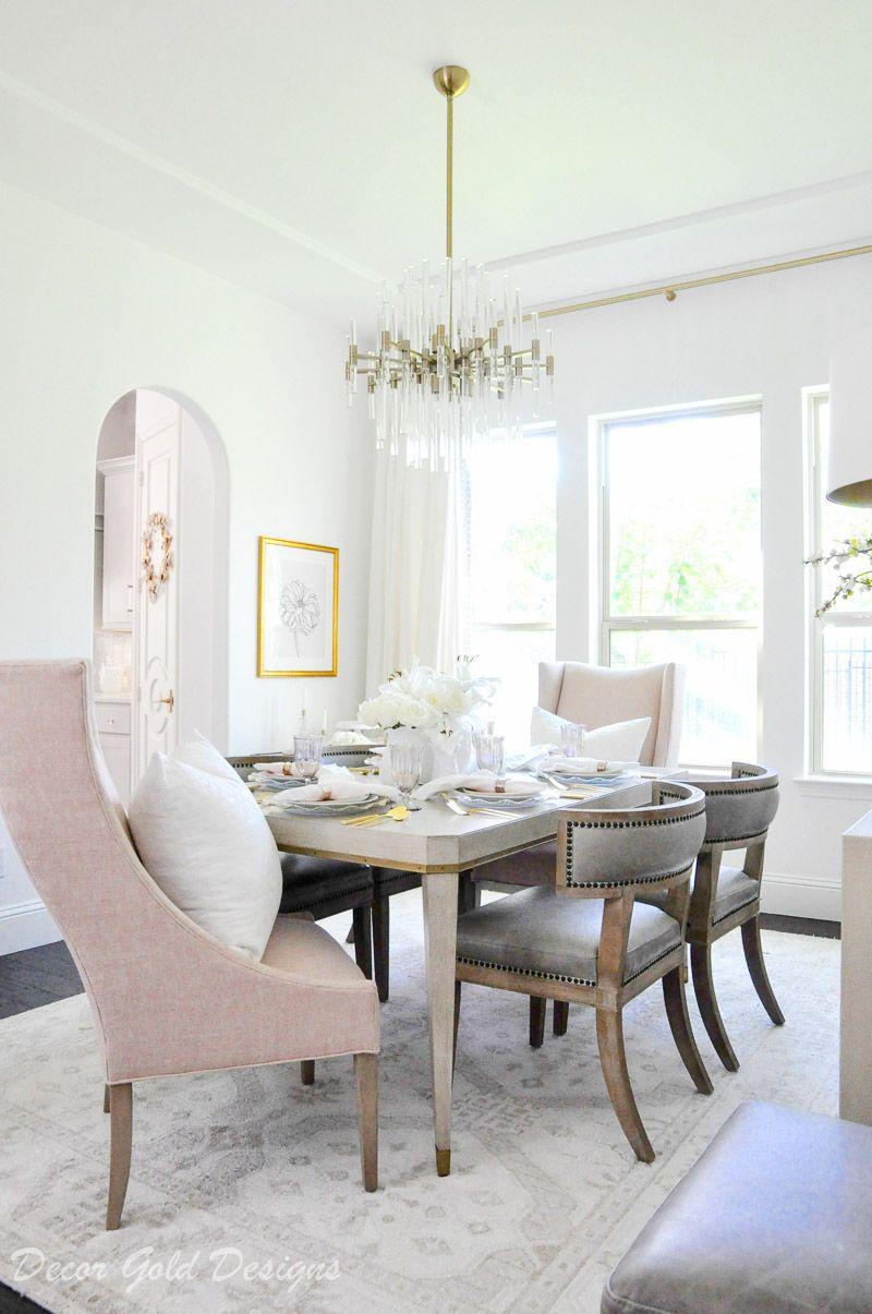 Blush Pink Tabletop Essentials Decor Gold Designs Pink Dining Rooms Gold Dining Room Dining Room Decor