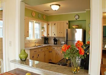 mesmerizing lime green kitchen walls | Bright country cottage kitchen with lime green walls ...