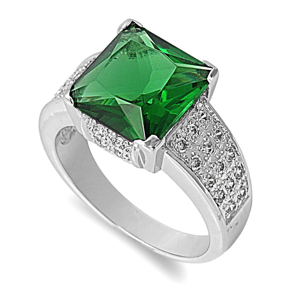 925 Sterling Silver CZ Pave Hugged Square Simulated