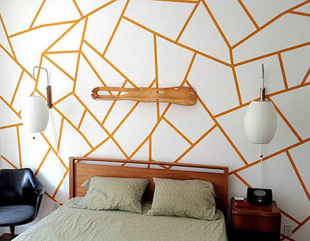 Bedroom Ideas Gold Painting Using Masking Tape For