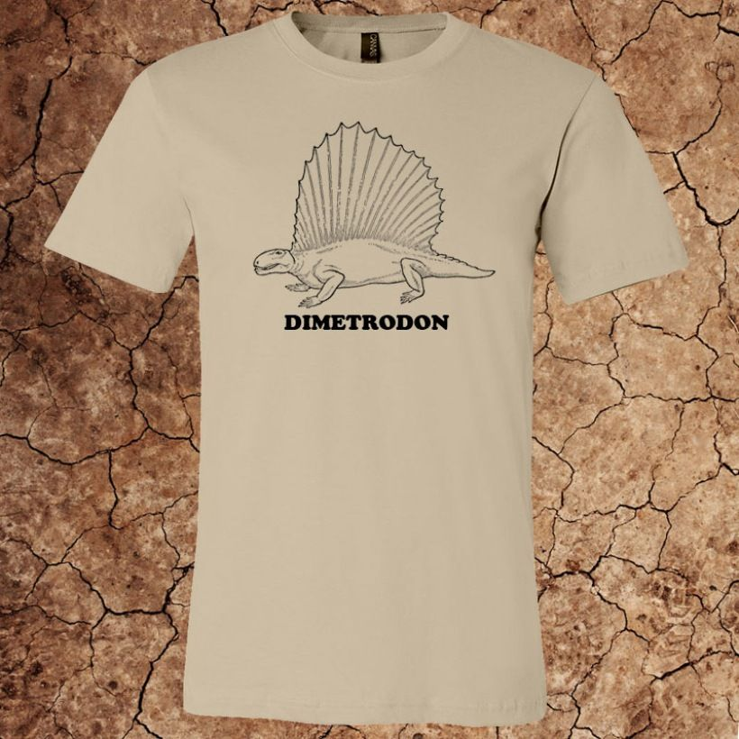 Men's Dimetrodon T-Shirt for $15 - Printed on Canvas brand t-shirts.  Over 20 colors and custom options available at www.myfavoritedinosaur.com