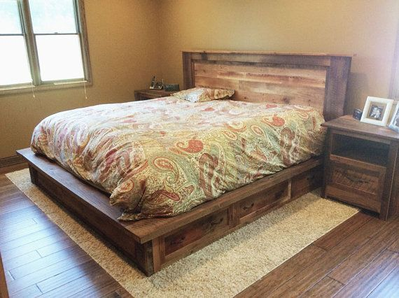 Reclaimed Wood Platform Bed Frame with Storage Drawers | Camas de ...