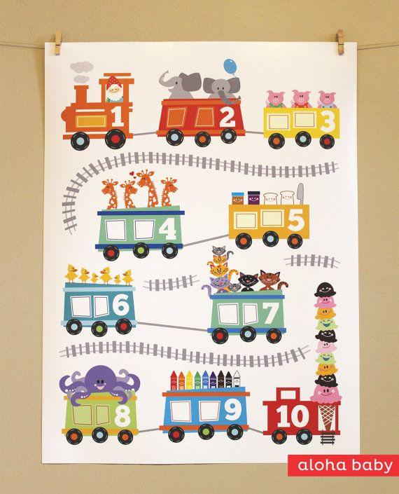 Aloha Counting Train Print Children Train Posters