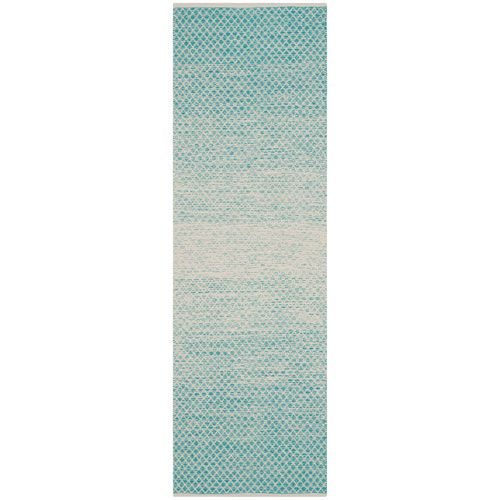 Montauk Turquoise and Ivory Runner: 2 Ft. 3-Inch x 3 Ft. 9-Inch Rug