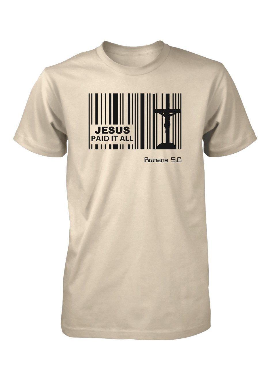 jesus paid price bar code god easter christian t-shirt for men