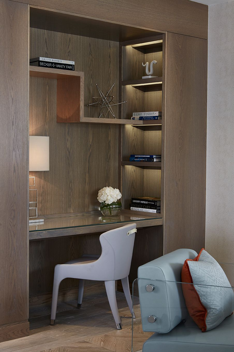 bookshelf and leather inlay desk detail | chelsea suites, the