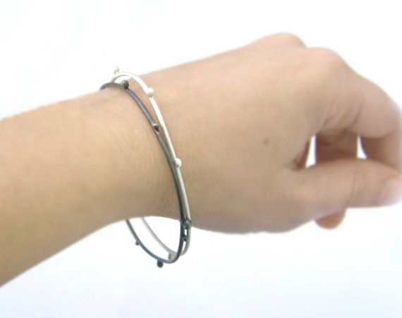 bangles in silver and oxidized silver hand made by StudioBALADI