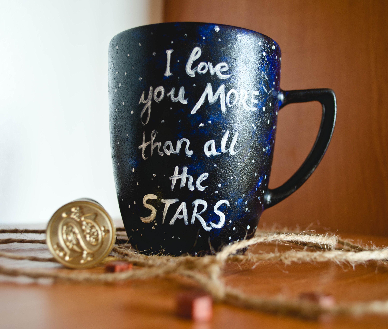 Couple Mug With Sentence I Love You More Than All Stars Etsy Couple Mugs Mugs Personalized Mugs