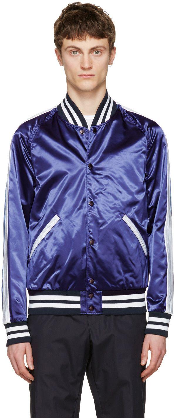 ab58ac5da Long sleeve nylon satin bomber jacket in 'bright' navy. Rib knit ...