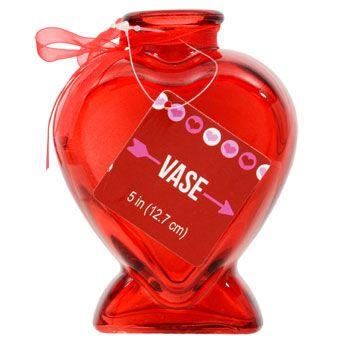Bulk Heart Shaped Red Glass Bud Vases