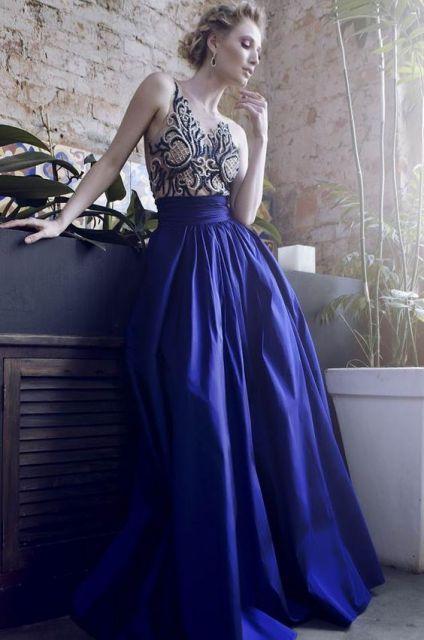 Vestido longo para formatura azul