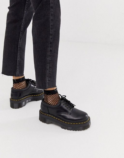 Dr Martens Quad 5 tie stacked leather flat shoes i