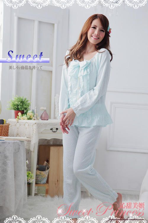 Pajamas Set: Long-Sleeve Bow-Accent Top + Pants - Sweet Princess | YESSTYLE Australia