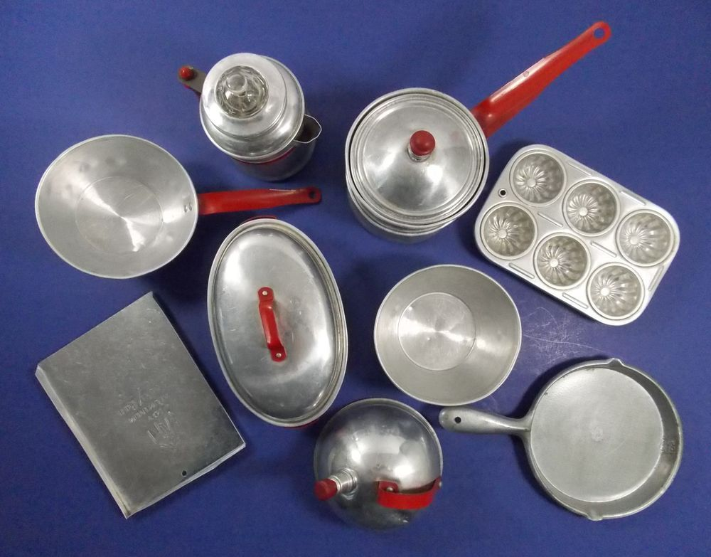 Details about Vintage Children\'s Aluminum Kitchen Tools Play ...