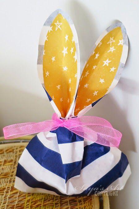 Anma.no - Blog - DIY Easterbunny giftbag by Dt Silje. Tutorial finnes her: http://www.andrinemaren.blogspot.no/2015/04/godtepose-paskehare-diy.html