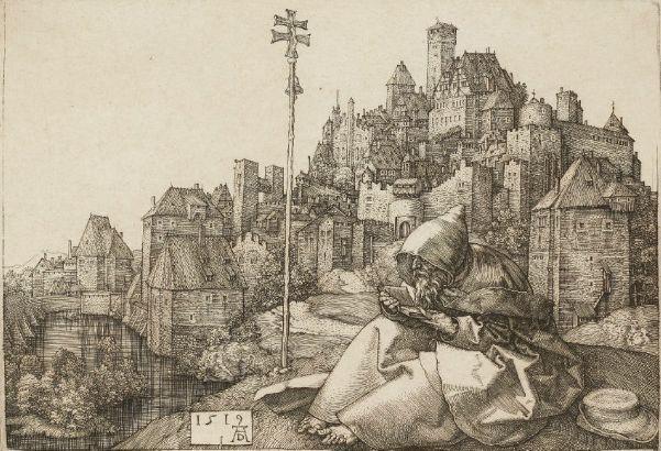 """Albrecht Durer - Sant'Antonio legge """"...la città sembrava un'acquaforte di Albrecht Dürer: una città con torri, mulini, tetti di ardesia e case costruite in stile gotico.."""""""