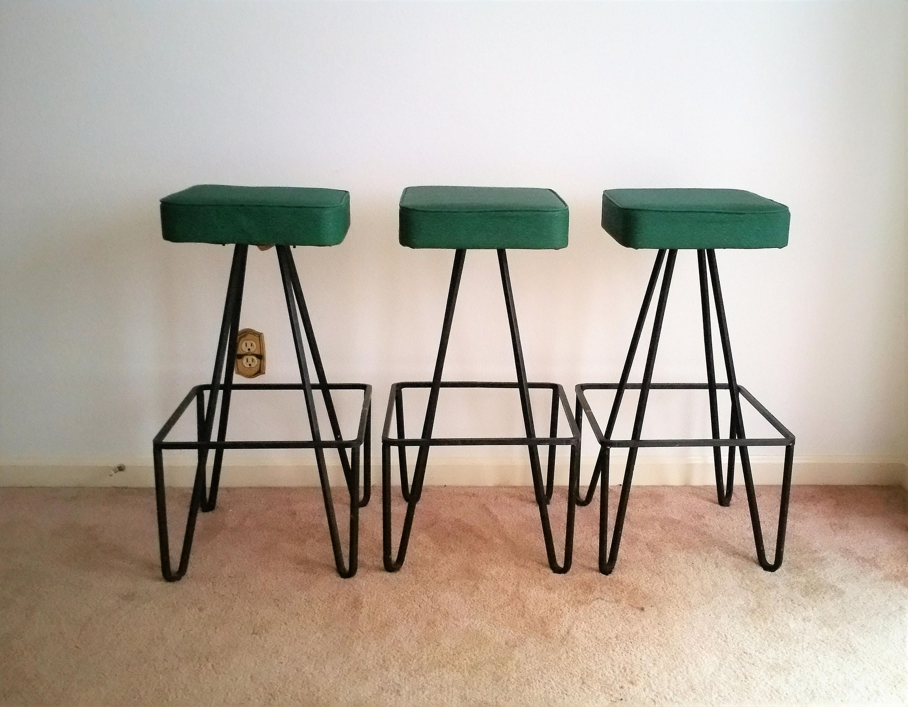 Marvelous Three Frederick Weinberg Cast Iron Bar Stools By Modernpicks Andrewgaddart Wooden Chair Designs For Living Room Andrewgaddartcom