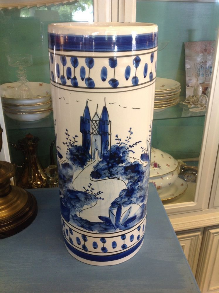 Vintage Blue White Hand Painted Ceramic Pottery Umbrella Stand