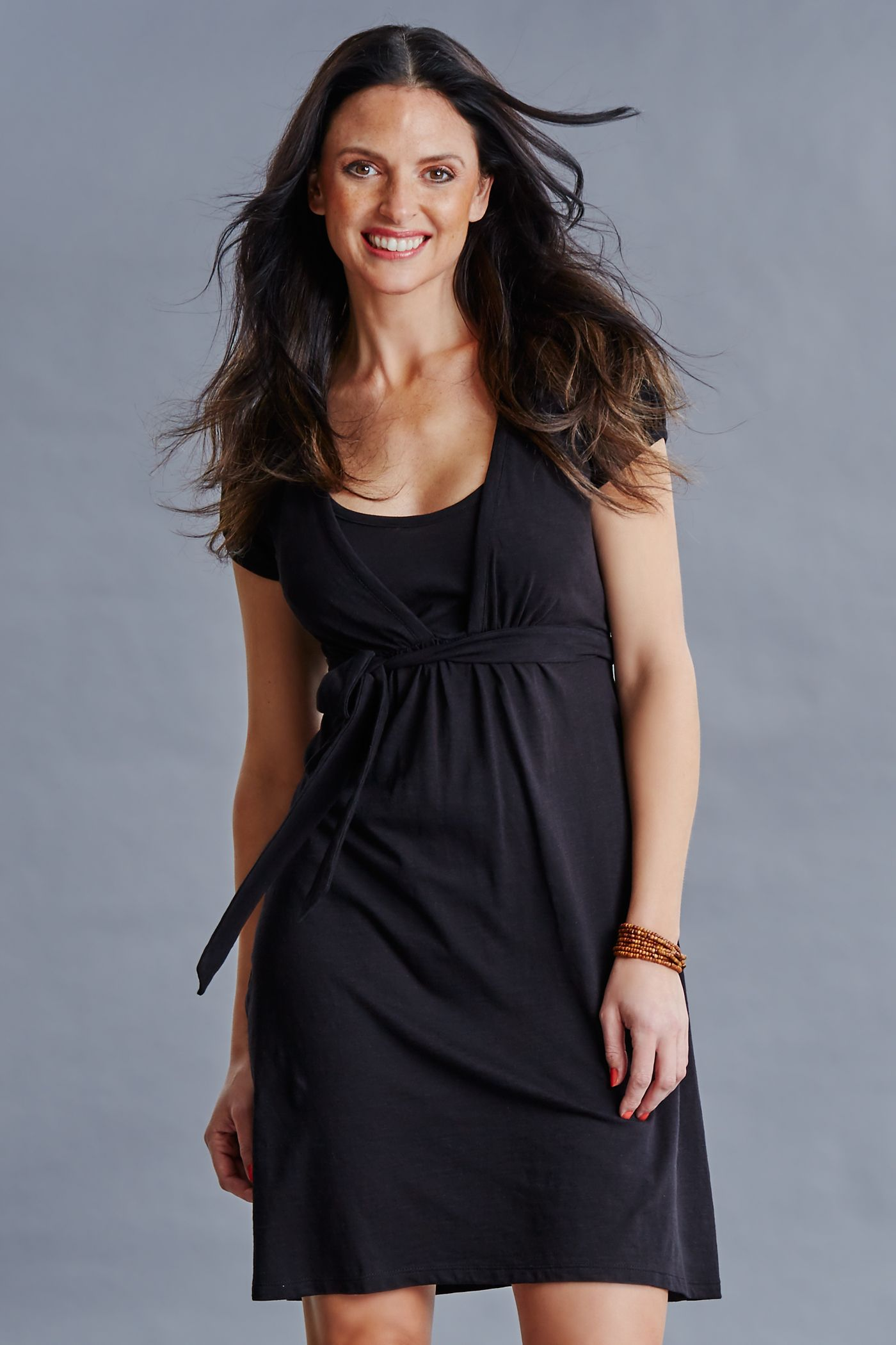 CHARLOTTE nursing dress in Black organic cotton jersey, GOTS certified