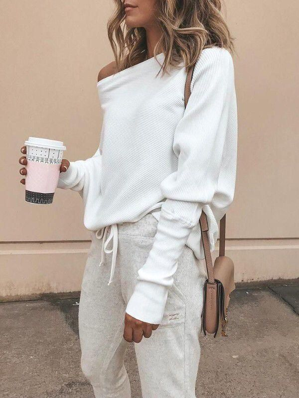 US Womens Off the Shoulder Chunky Knit Jumper Ladies Oversized Baggy Sweater Top #chunkyknitjumper