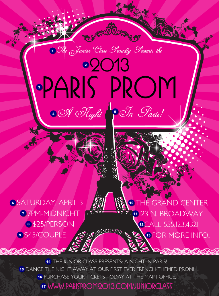 Paris Pink and Black Flyer | Ticket Printing | Paris theme ball ...