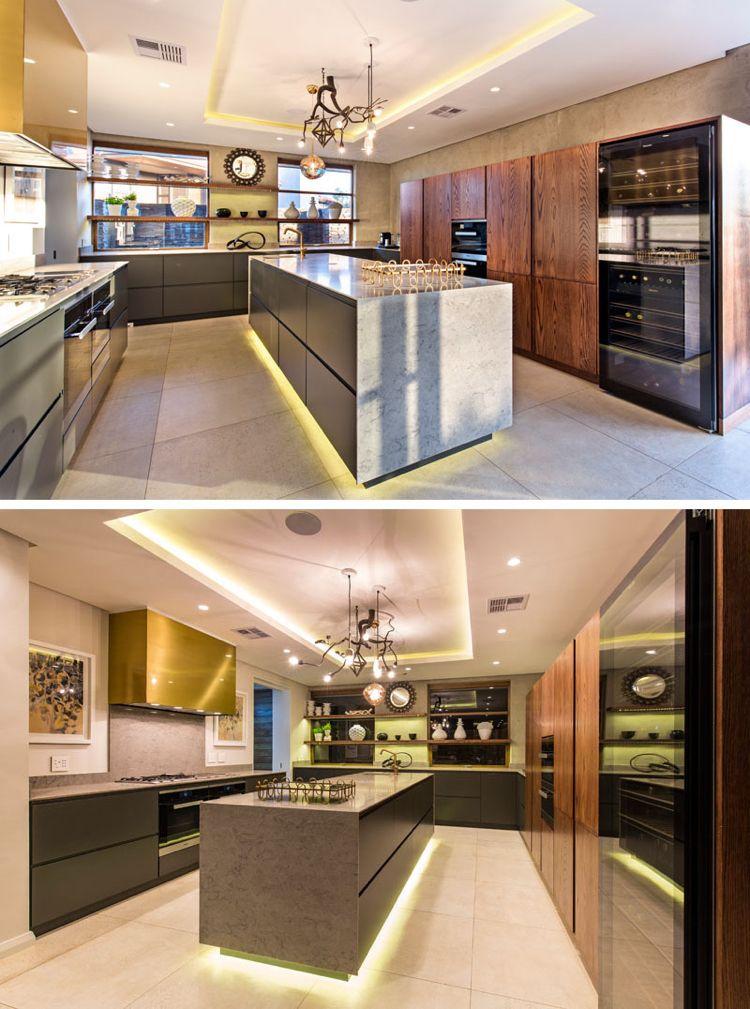Feng Shui Haus Innendesign Moderne Kuche Indirekte Beleuchtung