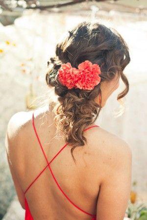 Cinco De Mayo Wedding Inspiration Ruffled Romantic Wedding Hair Bridal Hair And Makeup Flowers In Hair