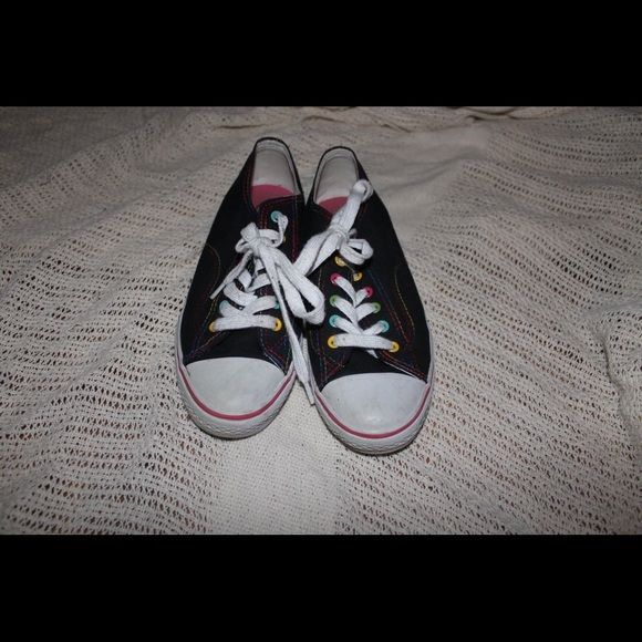 Converse sneakers Black and white converse with colorful detailing. Soda brand. Bought from Traffic. Only worn a few times. Great condition. Soda Shoes Sneakers