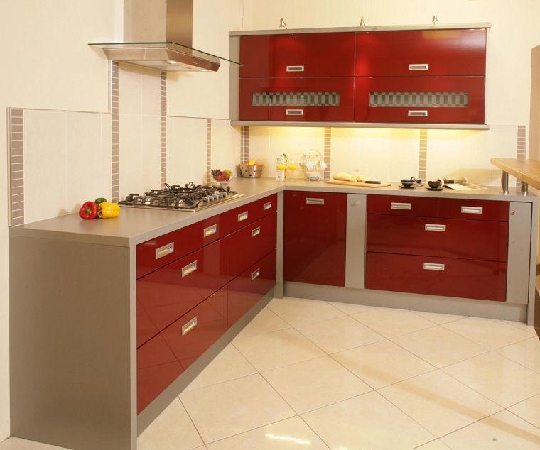 cucine-ad-angolo-moderne-mobili-rossi-grigi | Cucine | Pinterest