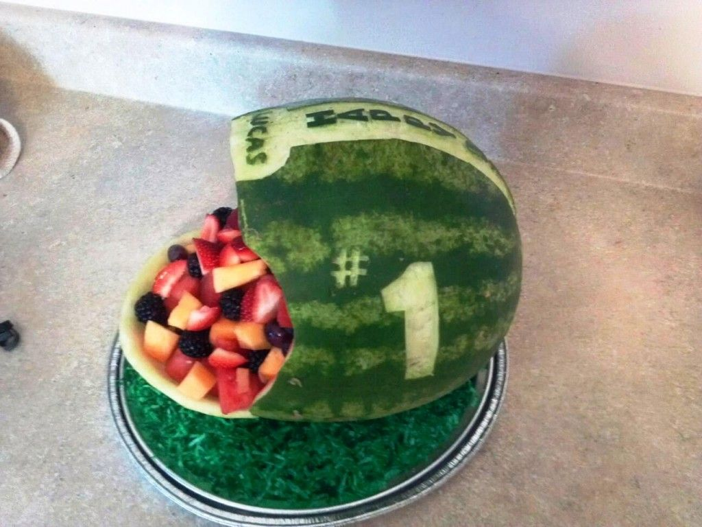 football party diy decorations make that fruit platter stand out - Football Decorations