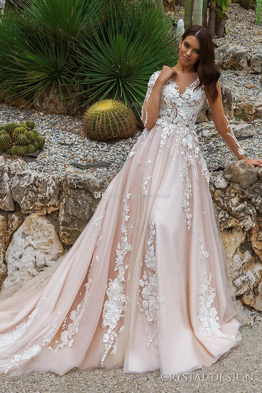200d01c7358b Best bohemian wedding dresses, pastel pink silk with lace cutout flowers  and long trail.
