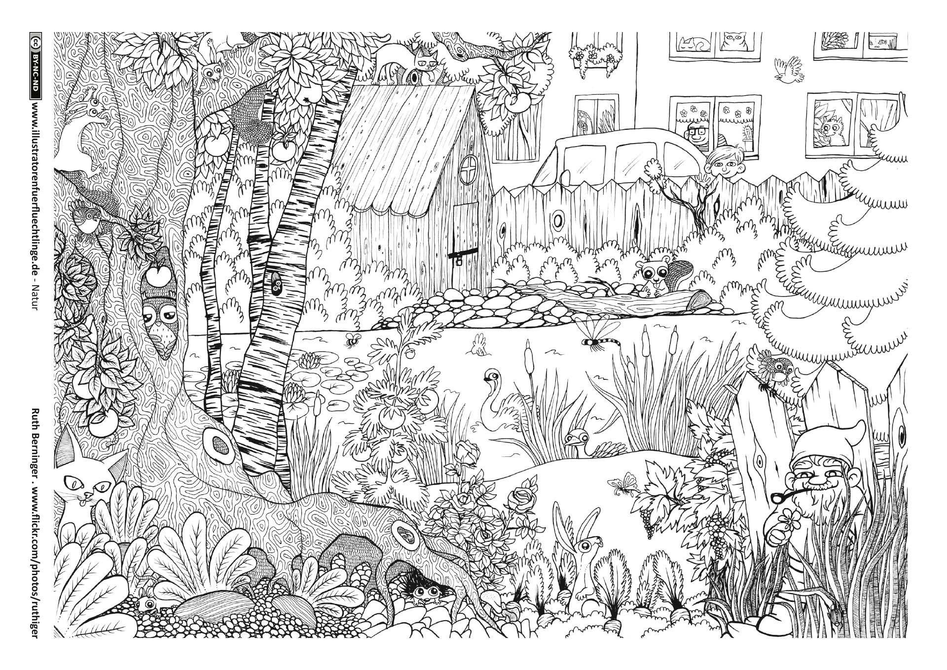 Ausmalbilder Garten Ausmalen Wimmelbild Ausmalbilder Tiere